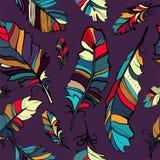 Naadloos patroon van gekleurde veren Stock Foto