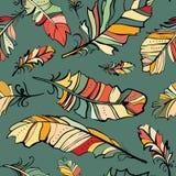 Naadloos patroon van gekleurde veren Stock Foto's