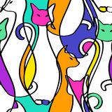 Naadloos Patroon van Geometrische Abstracte Katten Stock Afbeelding