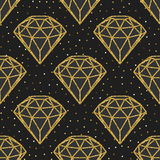 Naadloos patroon van geometrische gouden foliediamanten op zwarte achtergrond Het in ontwerp van hipsterkristallen Stock Fotografie