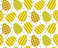Naadloos patroon van gestreepte eieren Stock Afbeelding