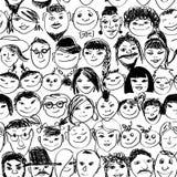 Naadloos patroon van glimlachende menigtemensen Stock Fotografie