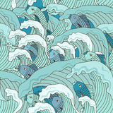 Naadloos patroon van golven en vissen Stock Foto