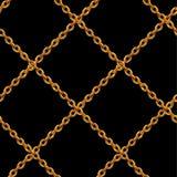 Naadloos patroon van gouden kettingen dat op achtergrond wordt geïsoleerd royalty-vrije illustratie