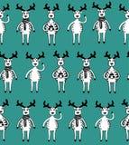 Naadloos patroon van grappige schetsdeers Stock Foto