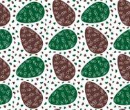 Naadloos patroon van groene en bruine paaseieren met harten Stock Afbeeldingen