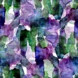 Naadloos patroon van groene en violette waterverfvlekken voor achtergrond stock afbeelding