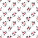 Naadloos patroon van hand-drawn harten in roze kleur Vectorachtergrondafbeelding voor vakantie, babydouche, verjaardag, valentin vector illustratie