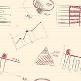 Naadloos patroon van hand-drawn infographic elementen Stock Foto