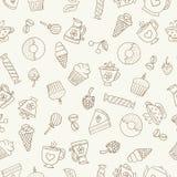 Naadloos patroon van hand-drawn koffiepictogrammen Royalty-vrije Stock Fotografie