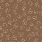 Naadloos patroon van hand-drawn koffiepictogrammen Stock Afbeeldingen