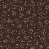 Naadloos patroon van hand-drawn koffiepictogrammen Royalty-vrije Stock Foto's