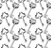 Naadloos patroon van hand-drawn uitstekende sleutels vector illustratie