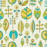 Naadloos patroon van hand getrokken bladeren Stock Afbeeldingen
