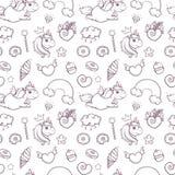 Naadloos patroon van hand getrokken eenhoorns op witte achtergrond kleurende pagina voor jonge geitjes en volwassene Vector illus vector illustratie