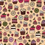 Naadloos patroon van hand getrokken krabbelcakes, desserts Royalty-vrije Stock Foto's