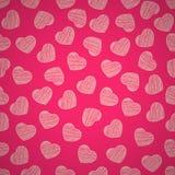 Naadloos patroon van harten op een roze achtergrond De dag van de valentijnskaart `s Geschilderde gekrabbel Achtergrond voor uw o stock illustratie