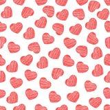 Naadloos patroon van harten op een witte achtergrond De dag van de valentijnskaart `s Geschilderde gekrabbel Achtergrond voor uw  stock illustratie