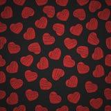 Naadloos patroon van harten op een zwarte achtergrond De dag van de valentijnskaart `s Geschilderde gekrabbel Achtergrond voor uw stock illustratie