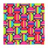 Naadloos patroon van heldere grote en kleine cirkels en strepen op zwarte achtergrond stock illustratie