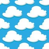Naadloos patroon van hemel en witte wolken Royalty-vrije Stock Afbeeldingen