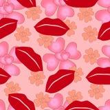 Naadloos patroon van het houden van van harten en lippen van de dag van Valentine ` s Stock Afbeelding