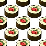 Naadloos patroon van het Japanse embleem van sushizeevruchten vector illustratie