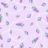 Naadloos patroon van het kwarts van de kristalregenboog in pastelkleuren Stock Foto
