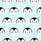 Naadloos Patroon van het Leuke Ontwerp van de Beeldverhaalpinguïn op Blauwe Achtergrond stock illustratie