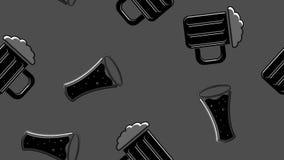 Naadloos patroon van het zwarte herhaalde alcoholische glas van bierglazen met de ambachtlagerbier van het bier schuimend hoppy m stock illustratie