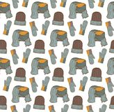 Naadloos patroon van hoeden, vuisthandschoenen en een sjaal Stock Fotografie