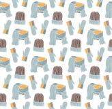 Naadloos patroon van hoeden, vuisthandschoenen en een sjaal Royalty-vrije Stock Afbeeldingen