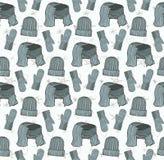 Naadloos patroon van hoeden, vuisthandschoenen en een sjaal Stock Afbeeldingen