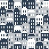 Naadloos patroon van huizen Stock Fotografie