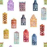 Naadloos patroon van huizen van waterverf de oude Europa royalty-vrije stock foto