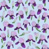 Naadloos patroon van irisbloemen in een lineaire stijl Royalty-vrije Stock Foto