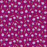 Naadloos patroon van irisbloemen in een lineaire stijl stock afbeeldingen