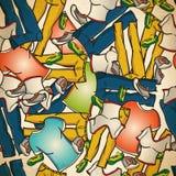 Naadloos patroon van jeans, T-shirts en tennisschoenen Stock Afbeeldingen