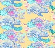Naadloos patroon van kameleon Royalty-vrije Stock Fotografie