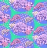 Naadloos patroon van kameleon Royalty-vrije Stock Foto's