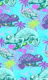Naadloos patroon van kameleon Royalty-vrije Stock Afbeeldingen