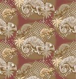 Naadloos patroon van kameleon Stock Foto's