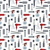 Naadloos patroon van kappervoorwerpen in vlakke die stijl op witte achtergrond wordt geïsoleerd Het materiaal van de haarsalon en Royalty-vrije Stock Afbeelding