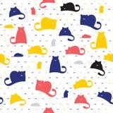 Naadloos patroon van katten en muizen op een witte achtergrond Stock Afbeeldingen