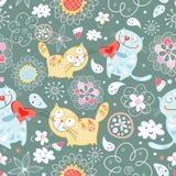 Naadloos patroon van kattenminnaars Royalty-vrije Stock Afbeelding