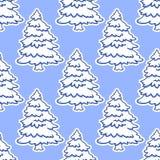Naadloos patroon van Kerstboom in sneeuw Stock Foto's