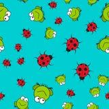 Naadloos patroon van kikkers en lieveheersbeestjes in beeldverhaalstijl stock illustratie