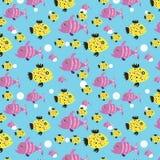 Naadloos patroon van kleine oceanic vissen vector illustratie