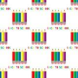 Naadloos patroon van kleurpotloden op witte achtergrond Terug naar schoolinschrijving stock illustratie
