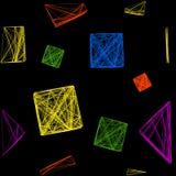Naadloos patroon van kleurrijke die 3D kubussen, een kubus van lijnen wordt gemaakt Stock Afbeeldingen
